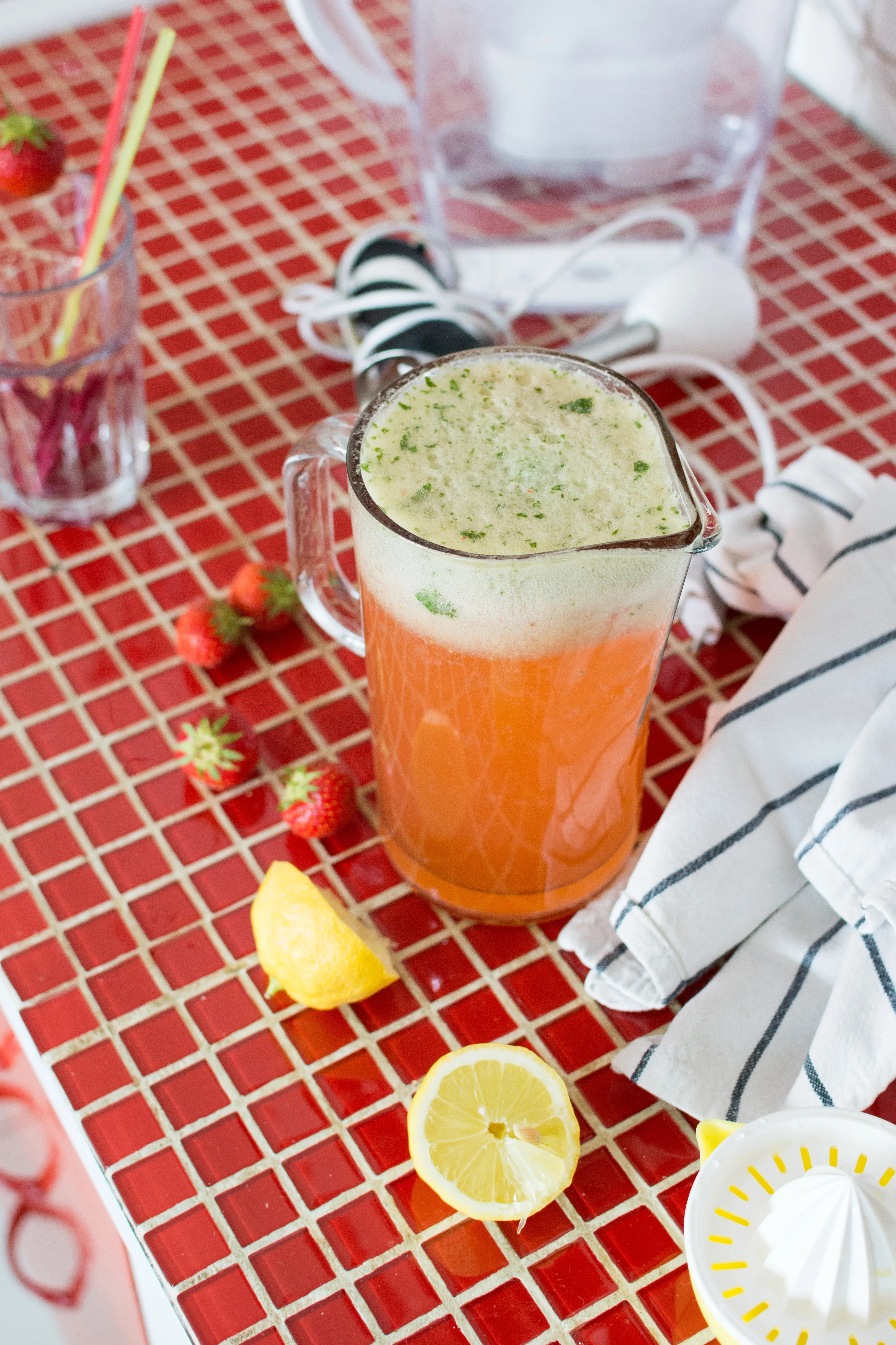 Homemade strawberry and basil lemonade