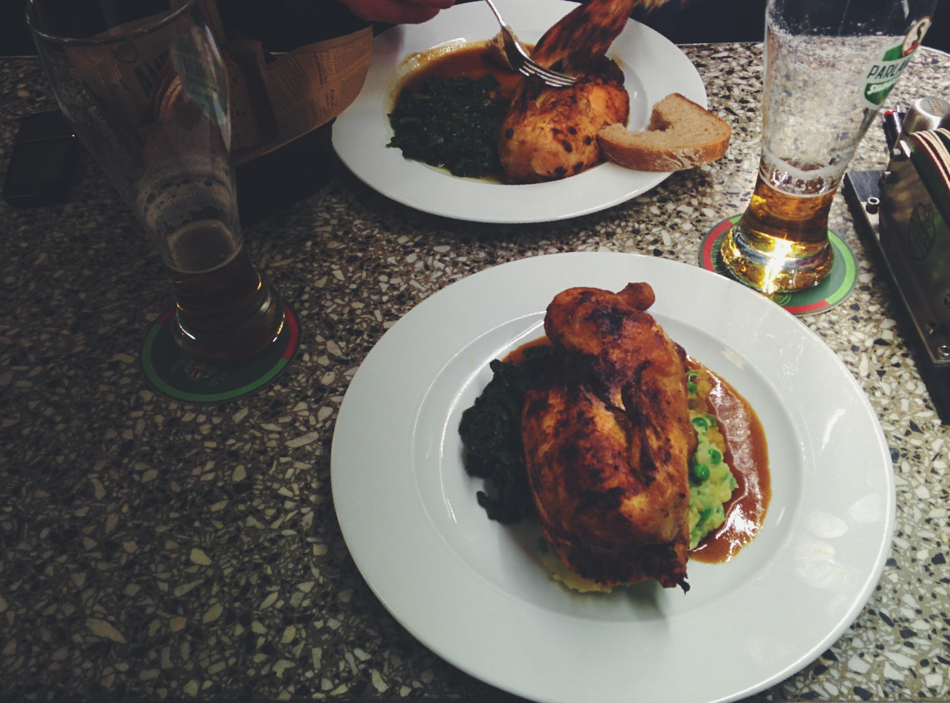Half of a chicken in a restaurant