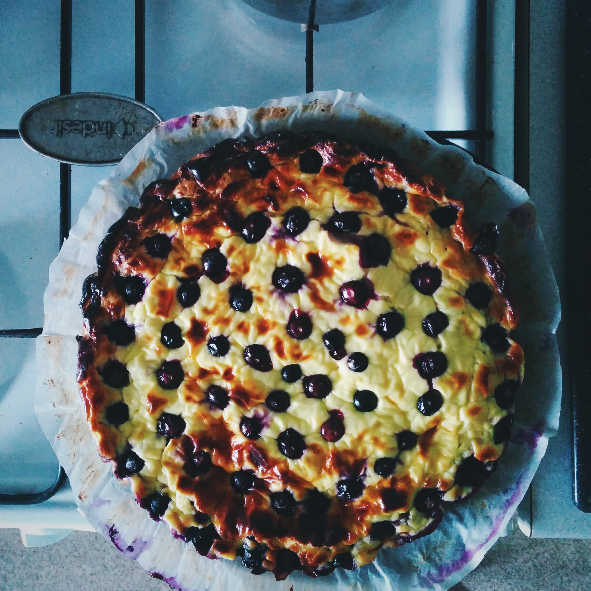 Rustical homemade cake with cherries