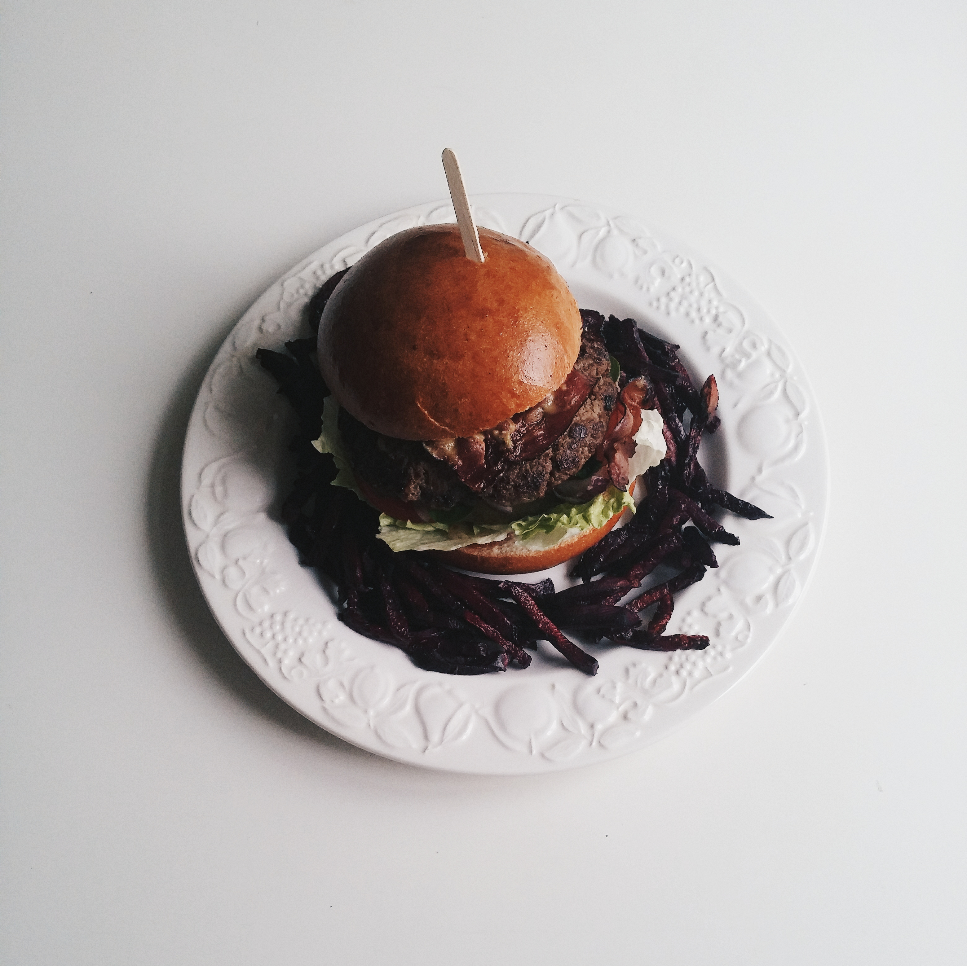 Burger from above on a white background