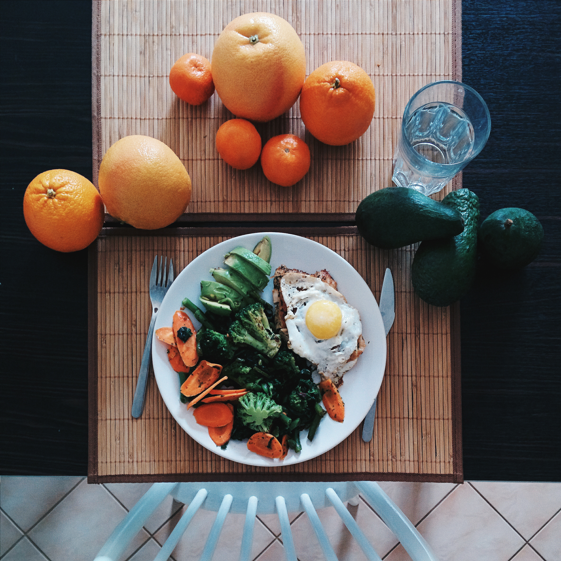 Chicken steak with egg, spinach, broccoli, avocado and carrot