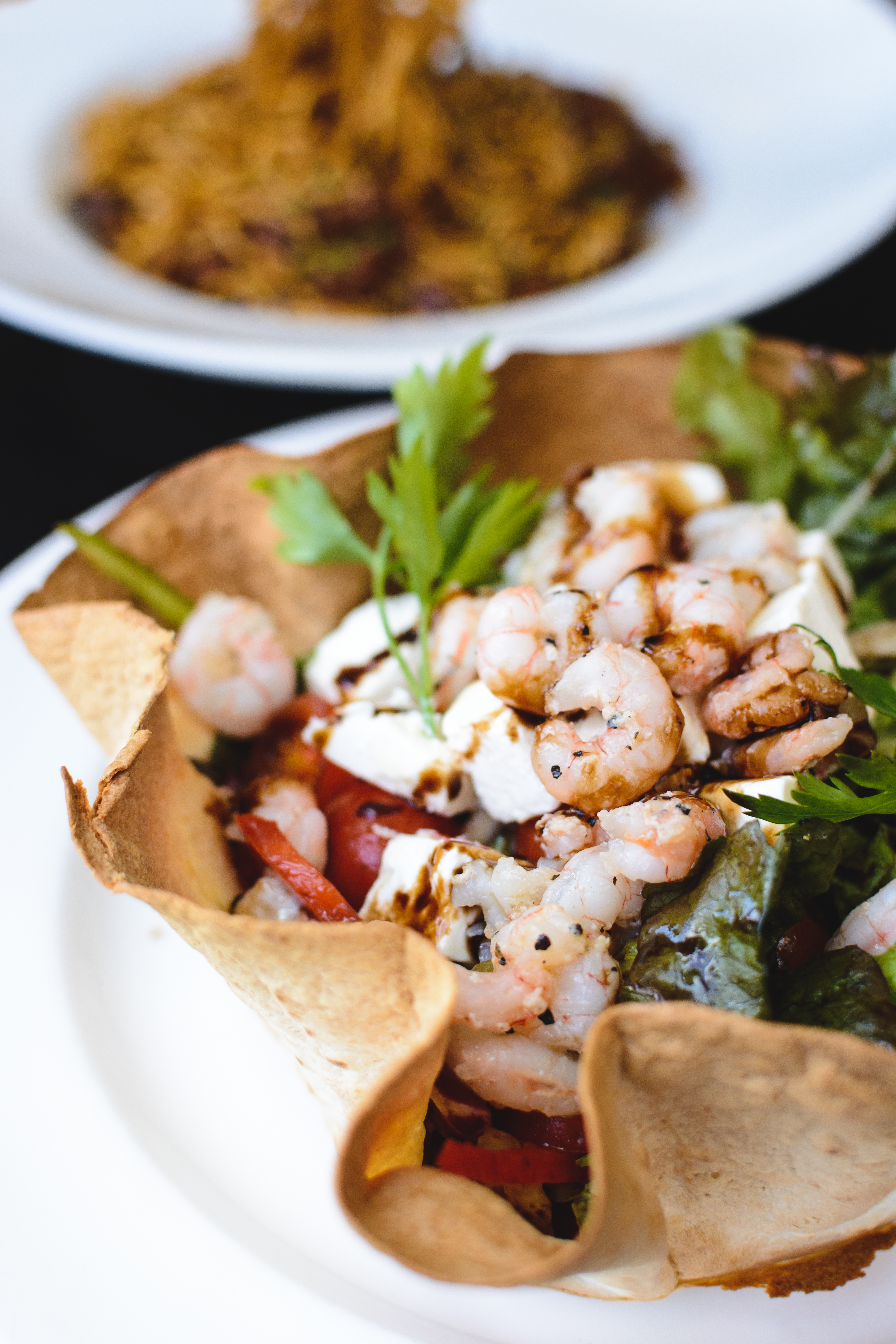 Salad with shrimps and feta cheese