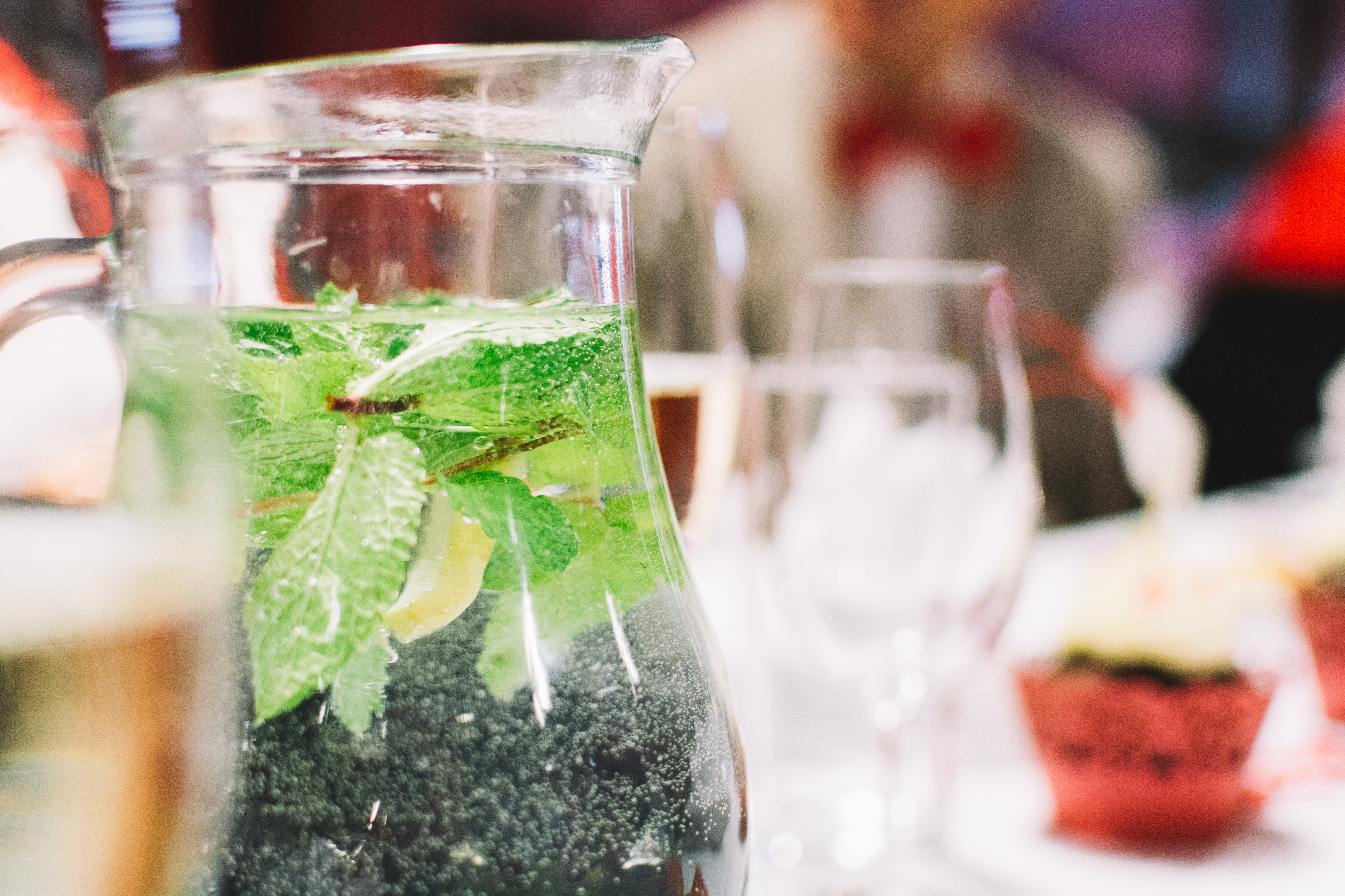 Water with mint in a jug