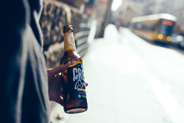 Having craft beer on a street