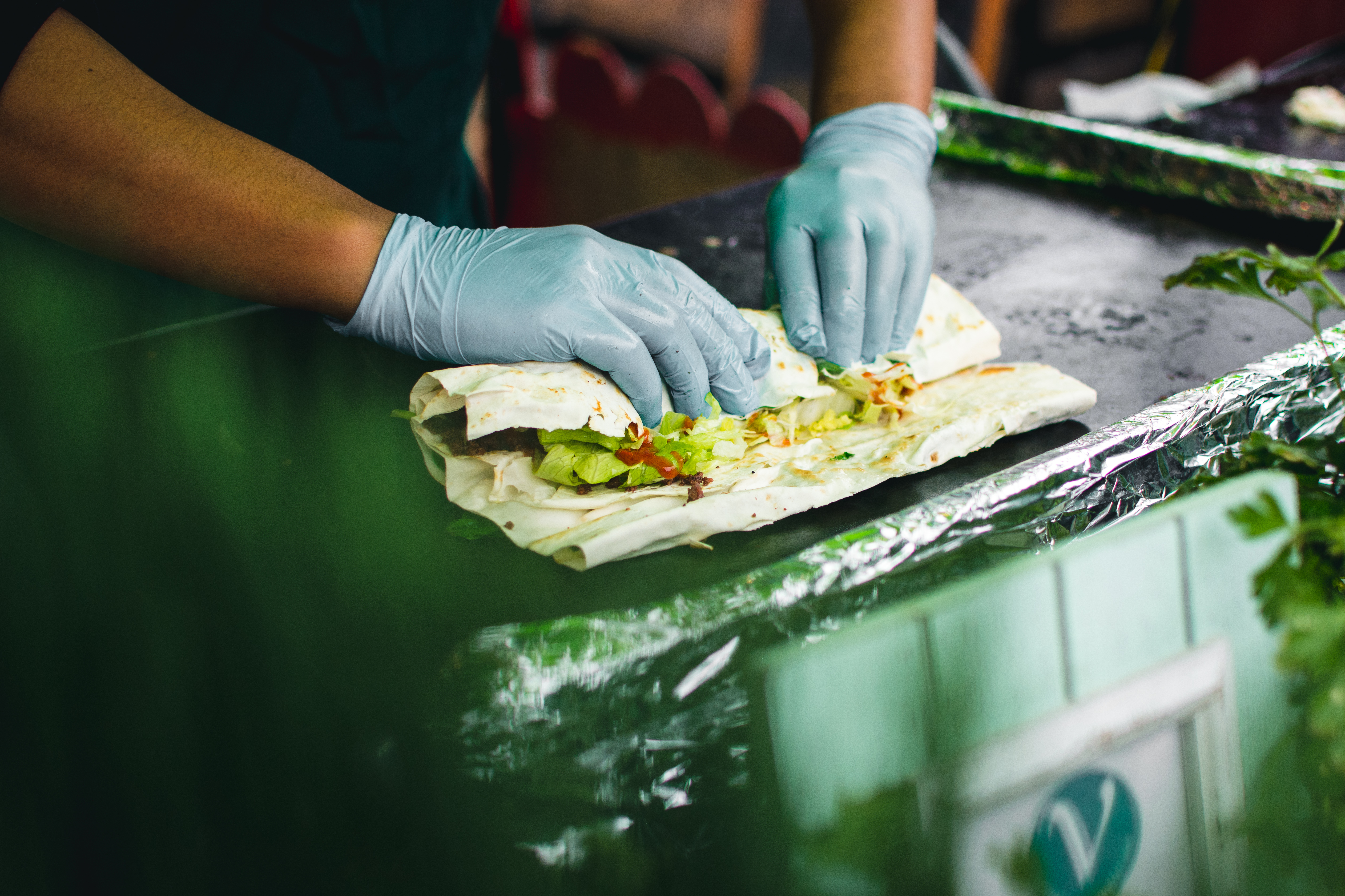 Preparing healthy wrap to go