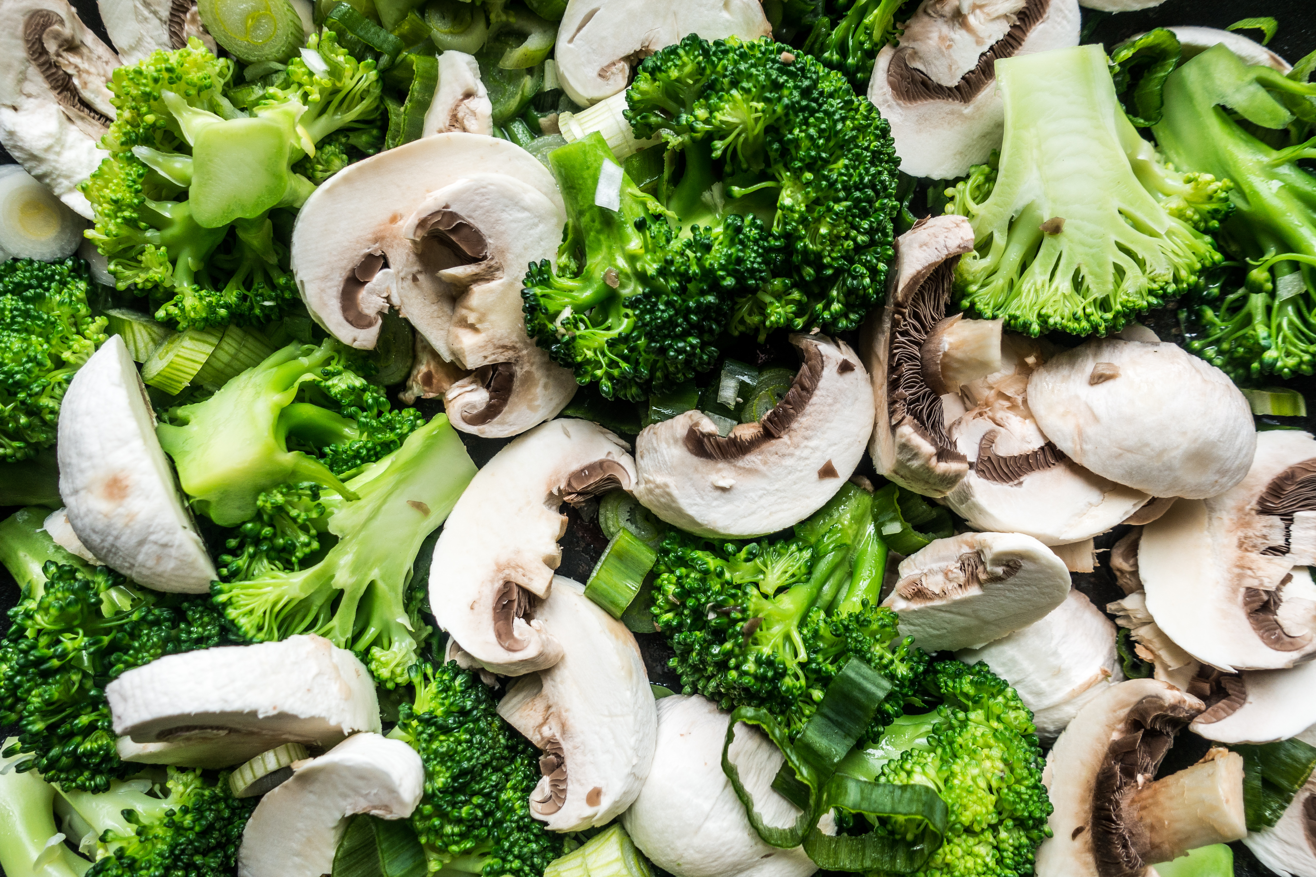 Colorful broccoli mushrooms mix