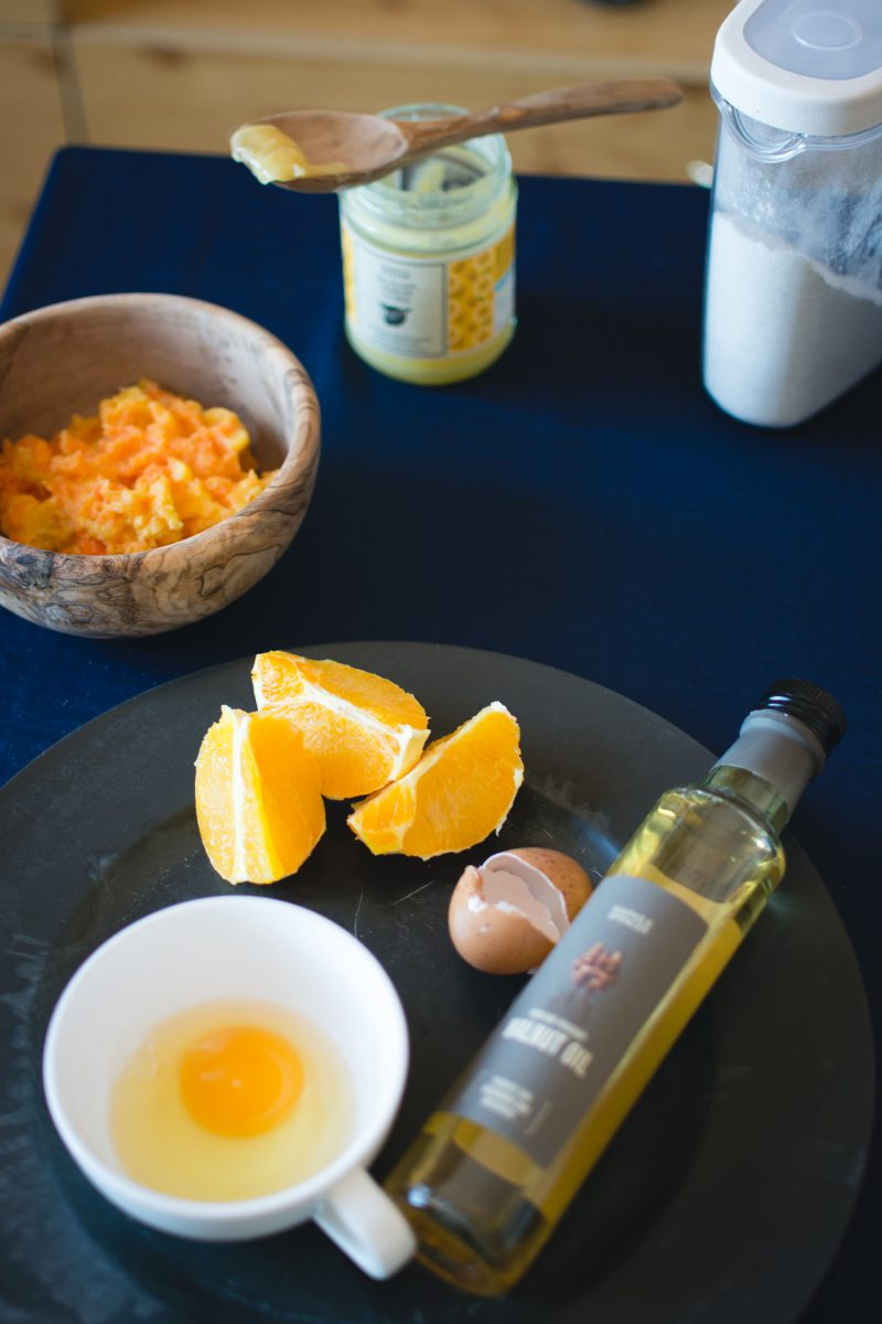 Ingredients for baking orange cake
