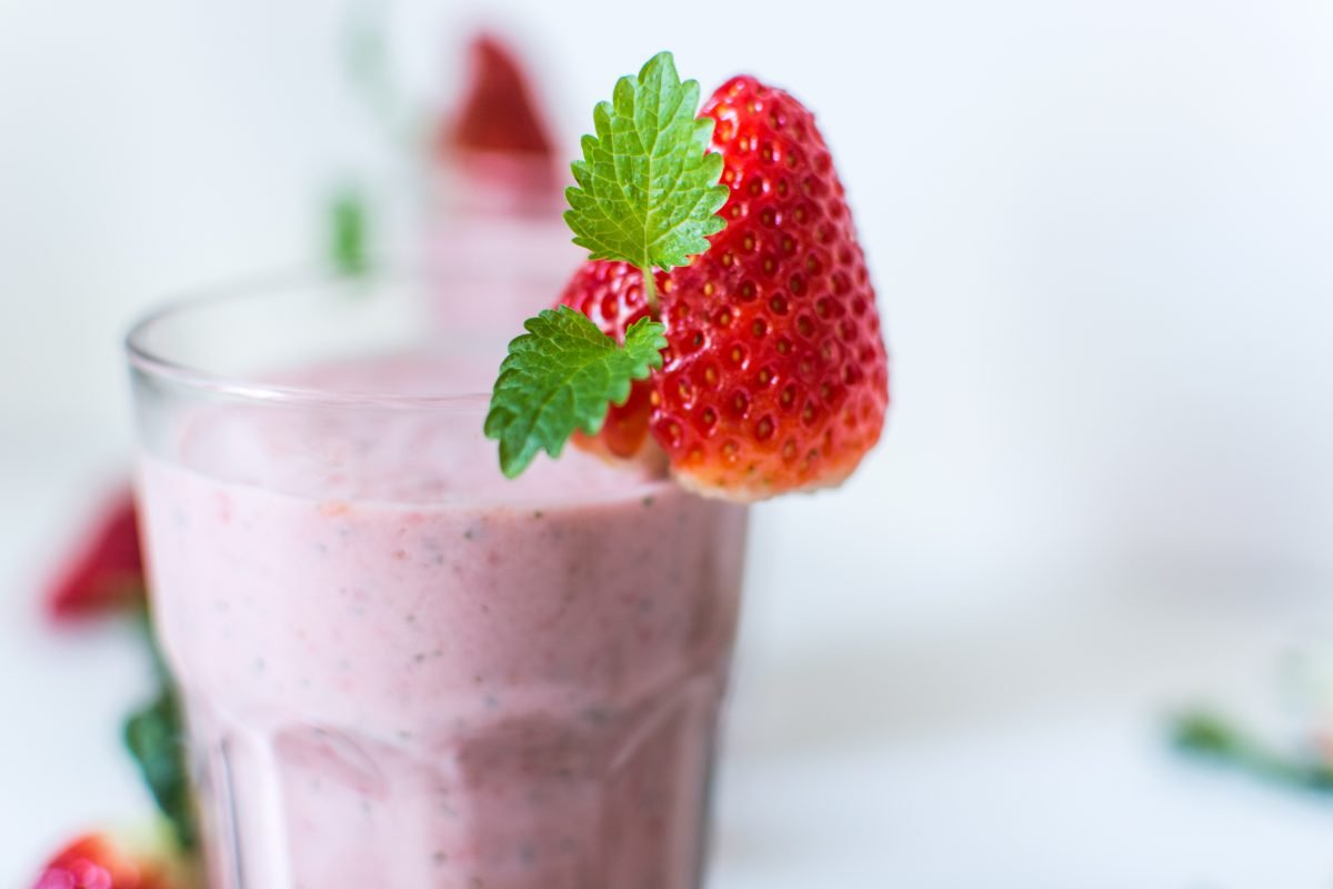 Strawberry mint milkshake