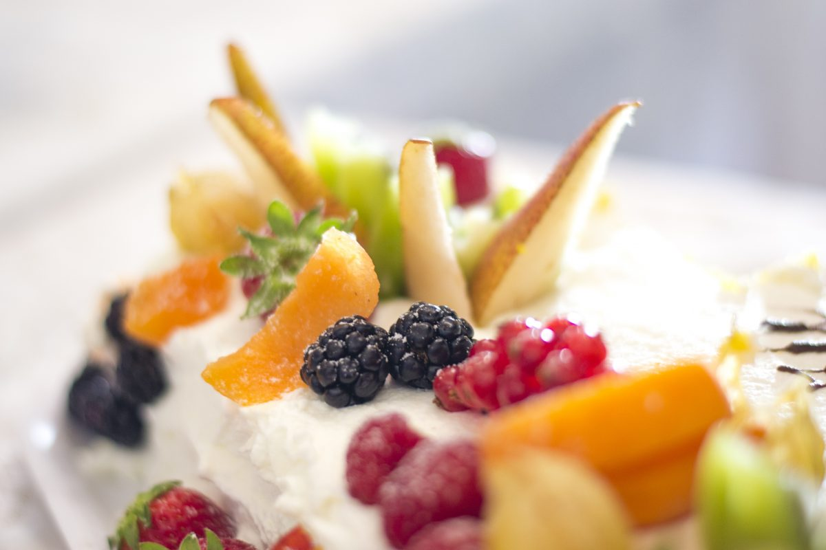 Sweet dessert with berries and other fruits